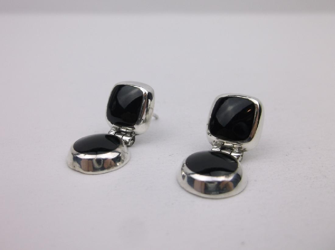 Gorgeous Sterling Silver Onyx Stud Earrings