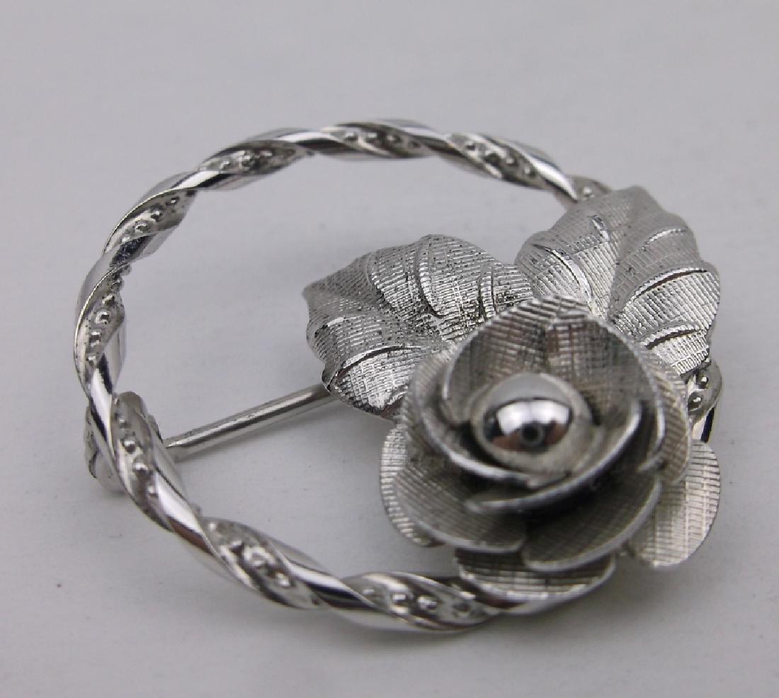 Stunning Vint DCE Sterling Silver Rose Brooch