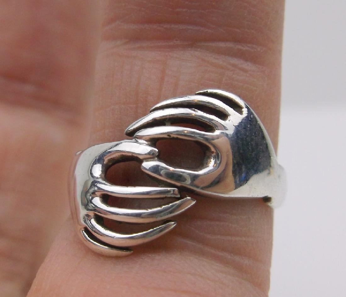 Stunning Sterling Silver Hands Ring 6.25