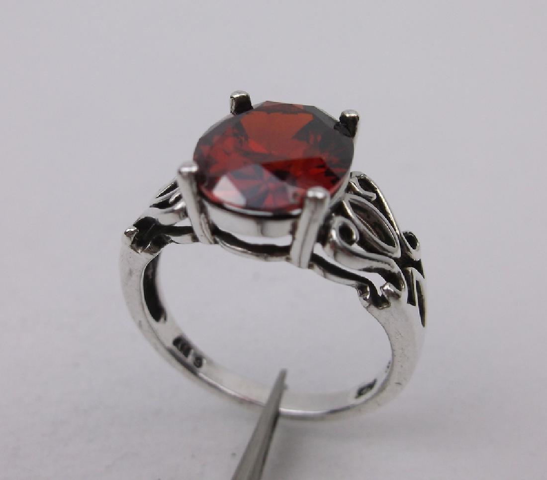 Stunning Sterling Silver Garnet Ring 6