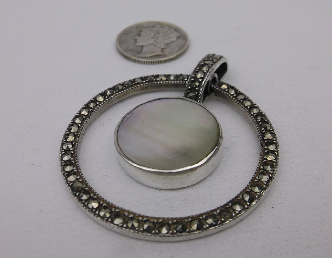 Stunning Large Sterling Silver MOP Pendant