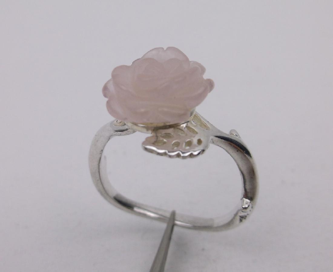 Stunning Sterling Silver Rose Quartz ring 8