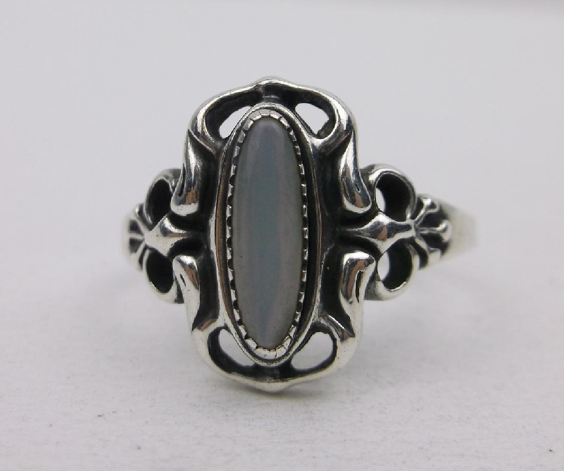 Stunning Sterling Silver MOP Ring 9 Ornate