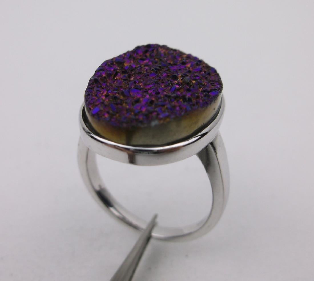 Stunning Sterling Silver Purple Druzy Ring 7