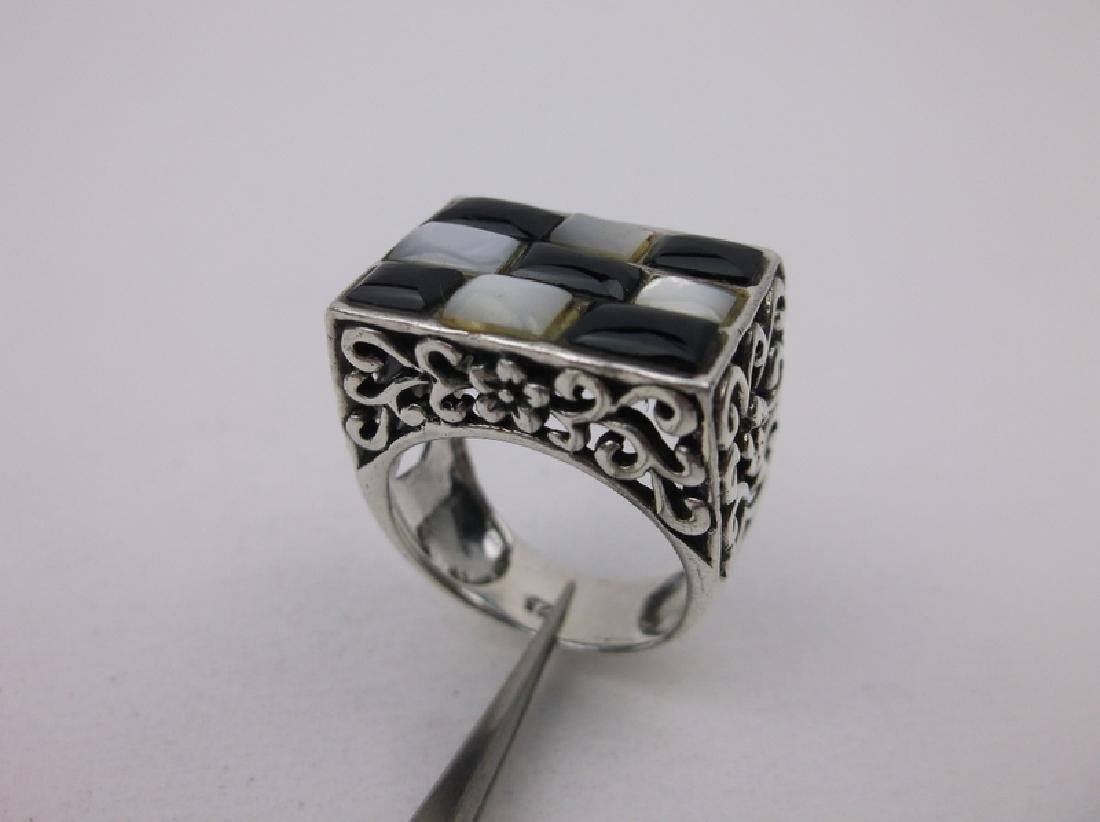 Stunning Sterling Silver Onyx MOP Ring 6.5 Large
