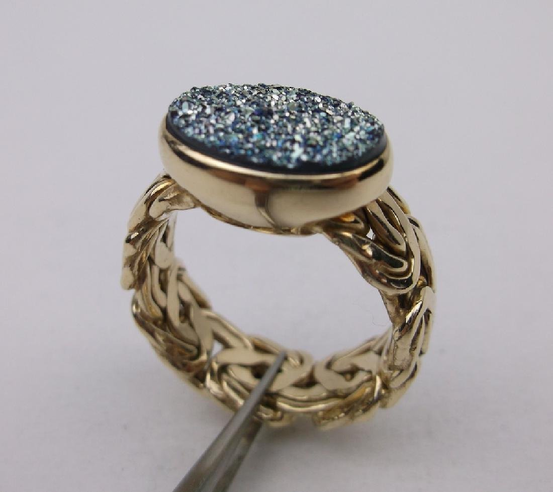Stunning Gold Over Sterling Druzy Ring 8.5