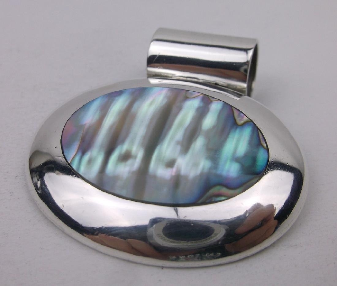 Stunning Sterling Silver Abalone Pendant Large