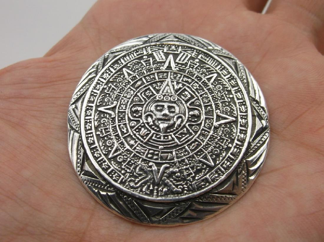 Taxco Sterling Mayan Pendant Brooch Heavy