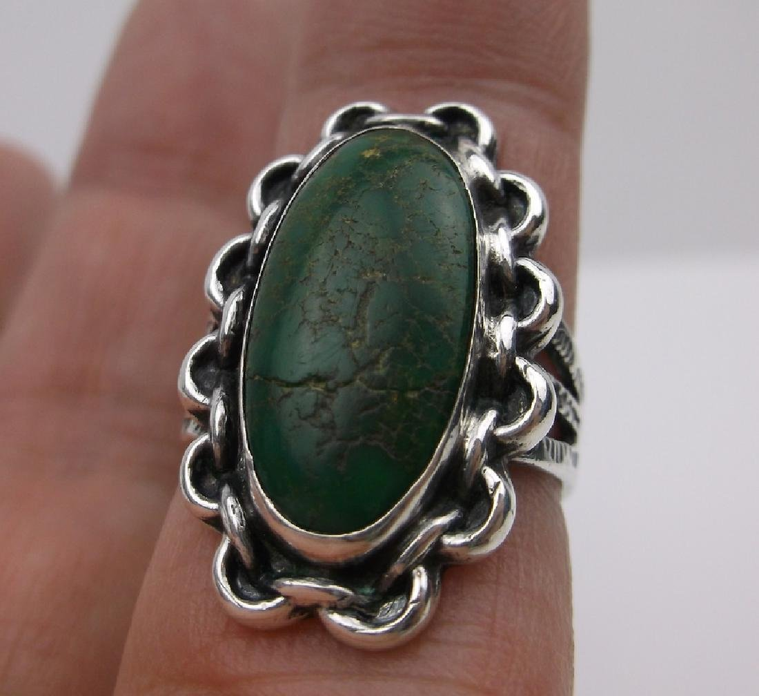 1950s Old Pawn Sterling Turquoise Ring 7 Arrows