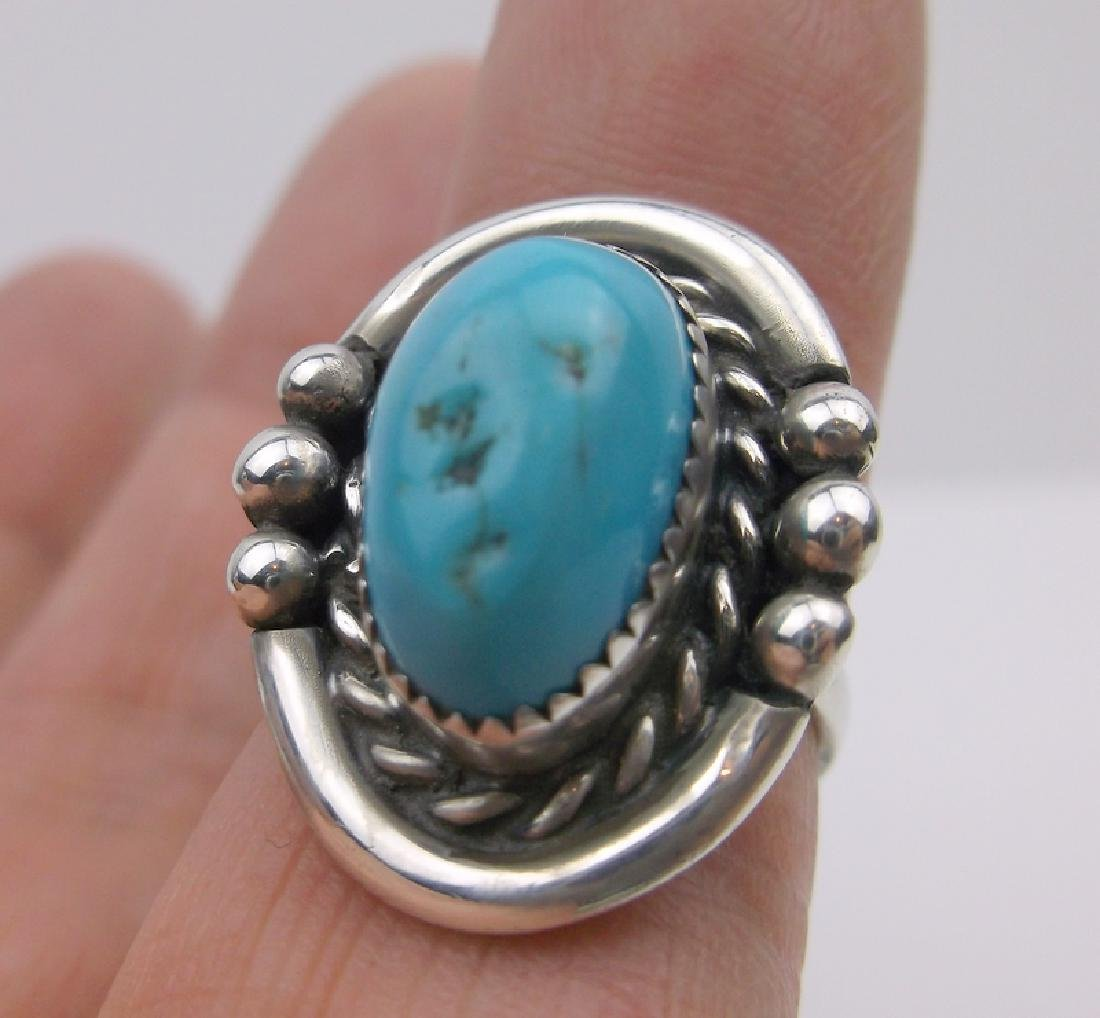 Navajo Sterling Silver Turquoise Ring 5 ME Gorgeous