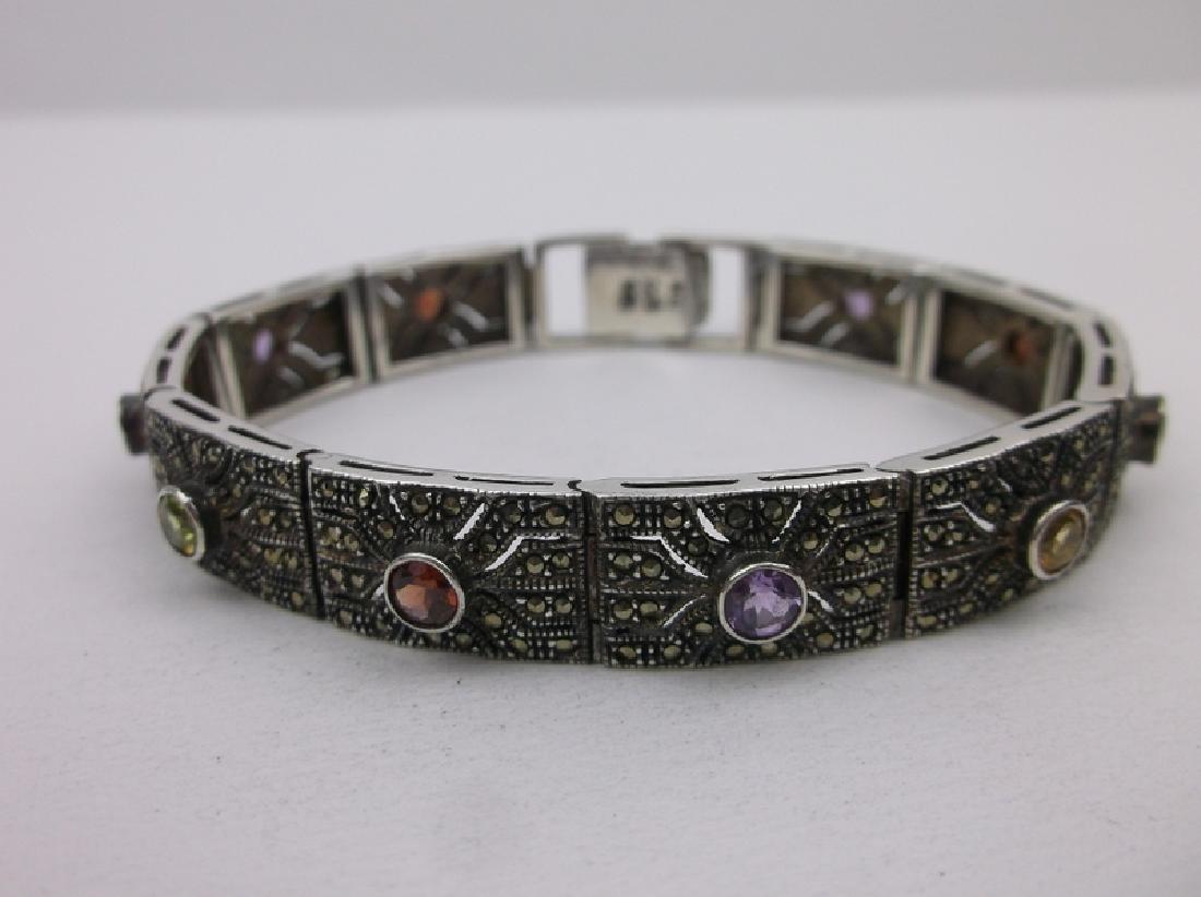 "Stunning Sterling Multi Gemstone Bracelet 7.5"""