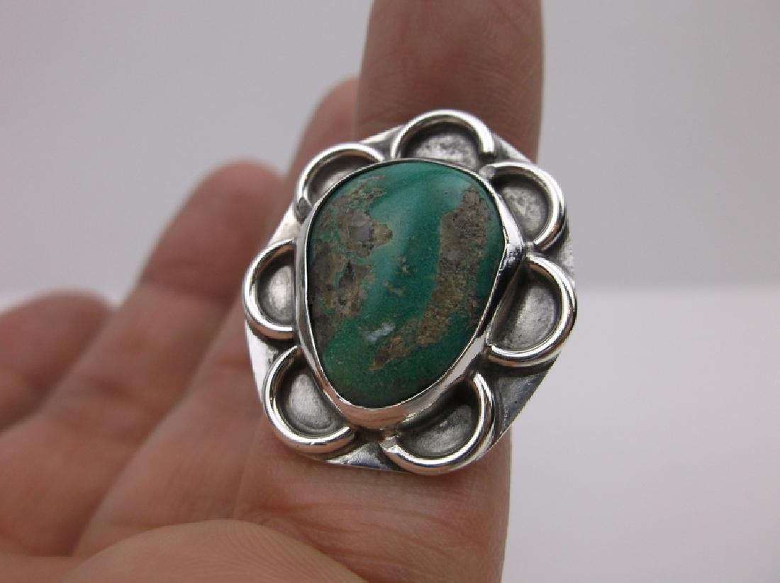 Navajo Sterling Turquoise Shield Ring 6 Stunning