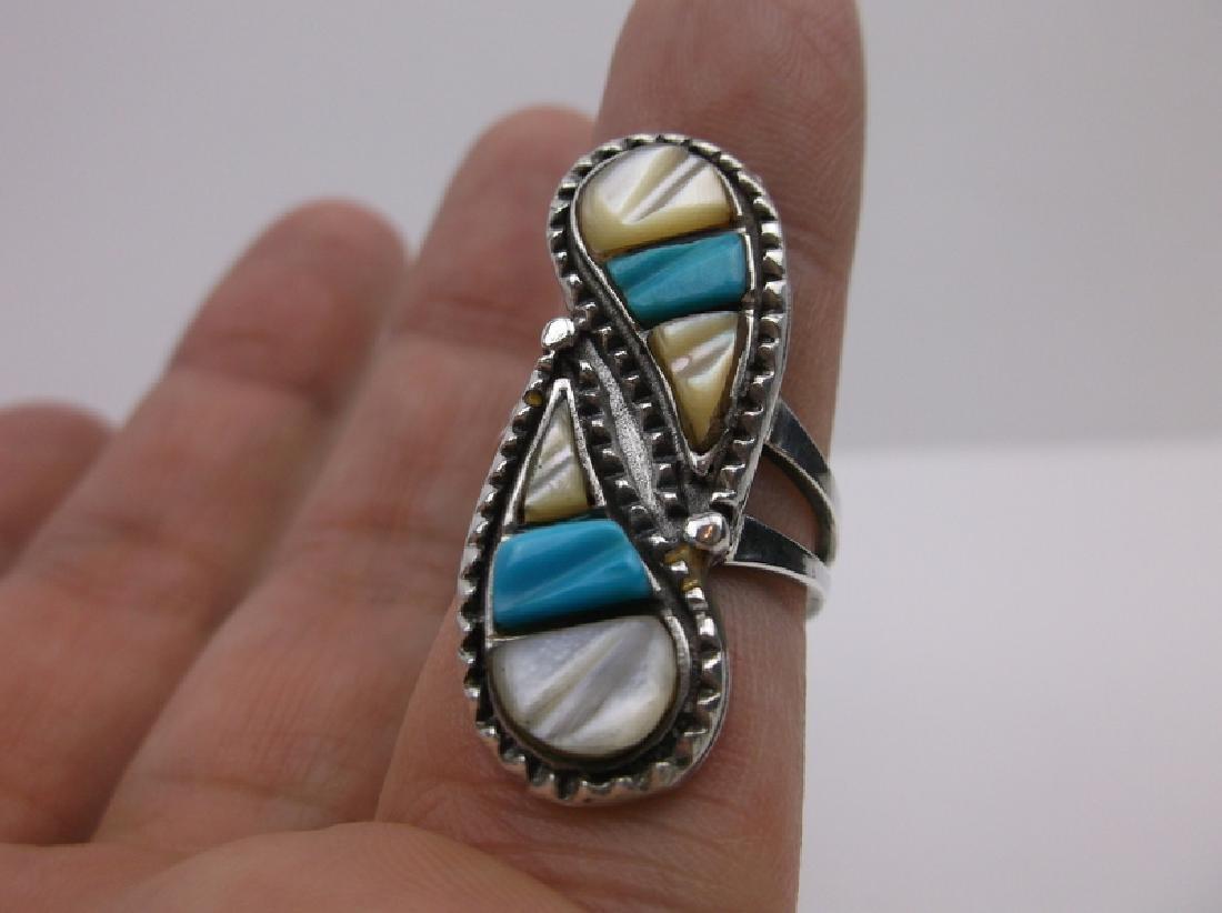 Navajo Sterling Turquoise MOP Ring 6.25 Teardrop