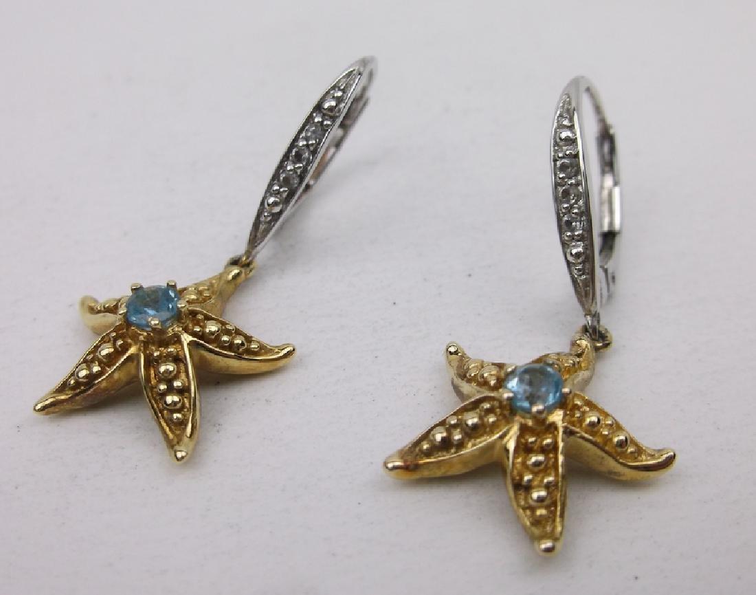 Stunning Sterling Aquamarine Starfish Earrings