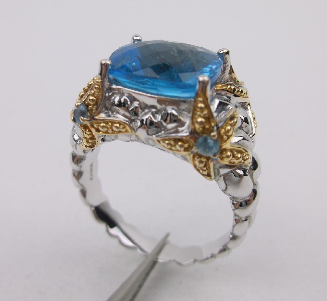 Stunning Sterling Aquamarine Starfish Ring 9.75