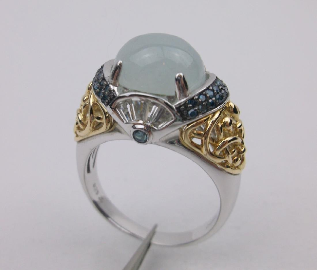 Blue Diamond Sterling Silver Jade Ring 10