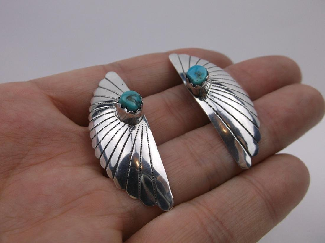 Stunning Navajo Sterling Turquoise Earrings Large