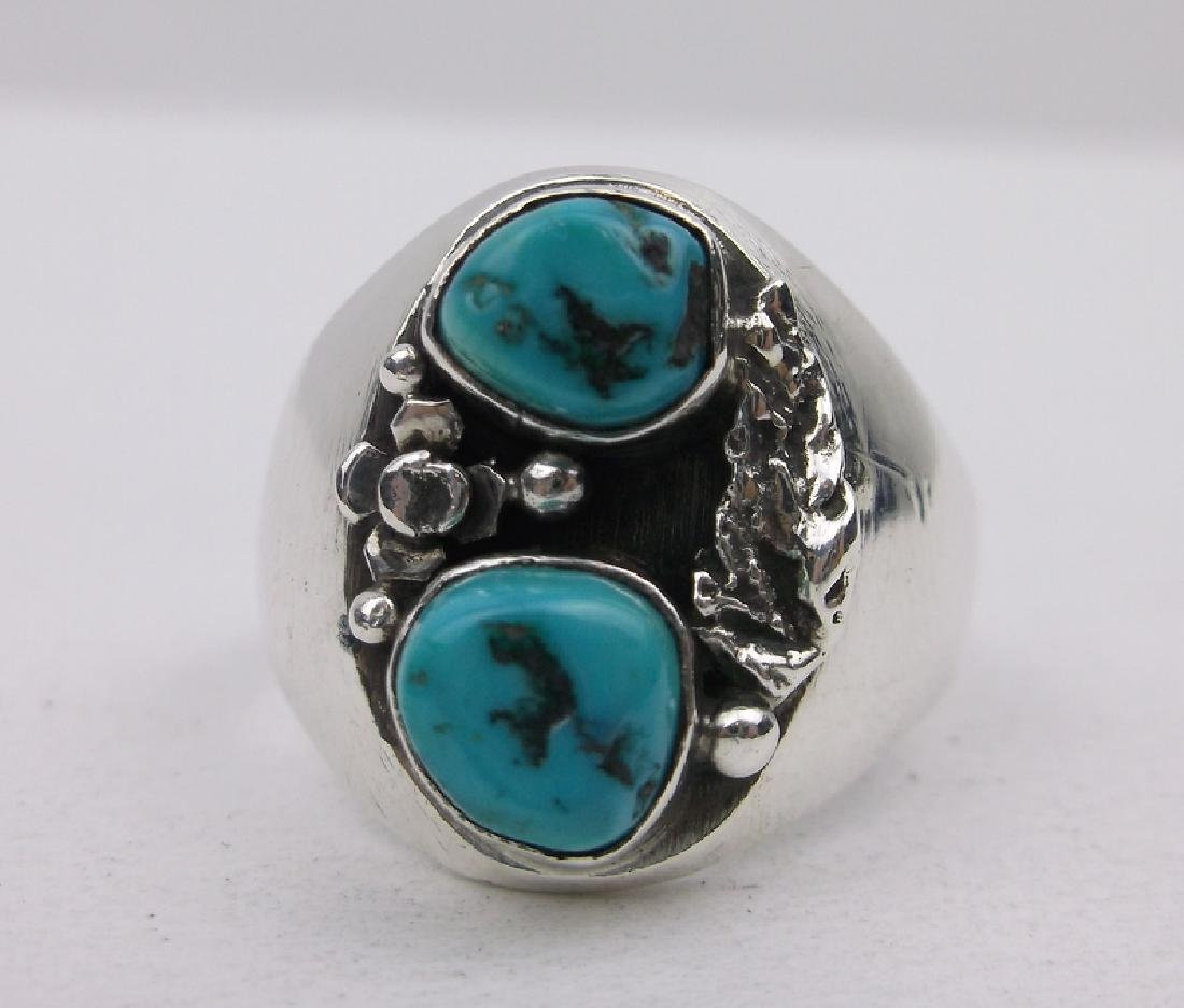 Navajo Sterling Turquoise Mens Ring 10 Stunning