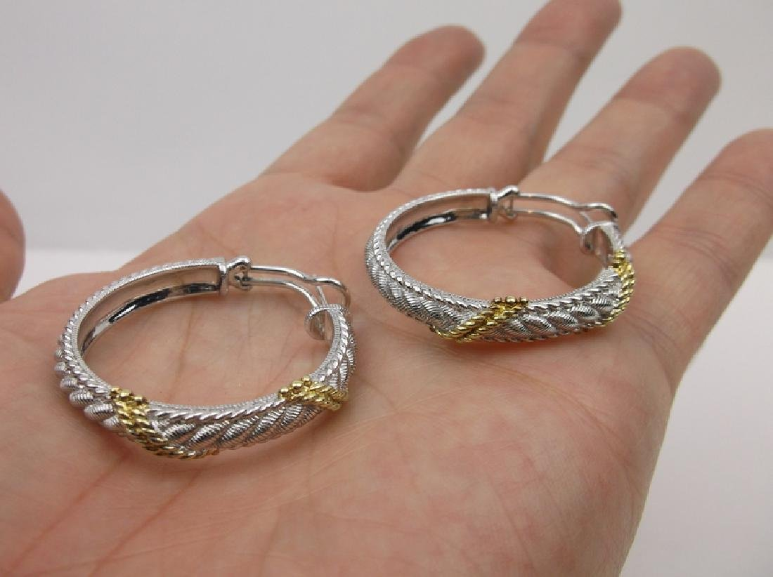 Judith Ripka Sterling Silver Hoop Earrings Large