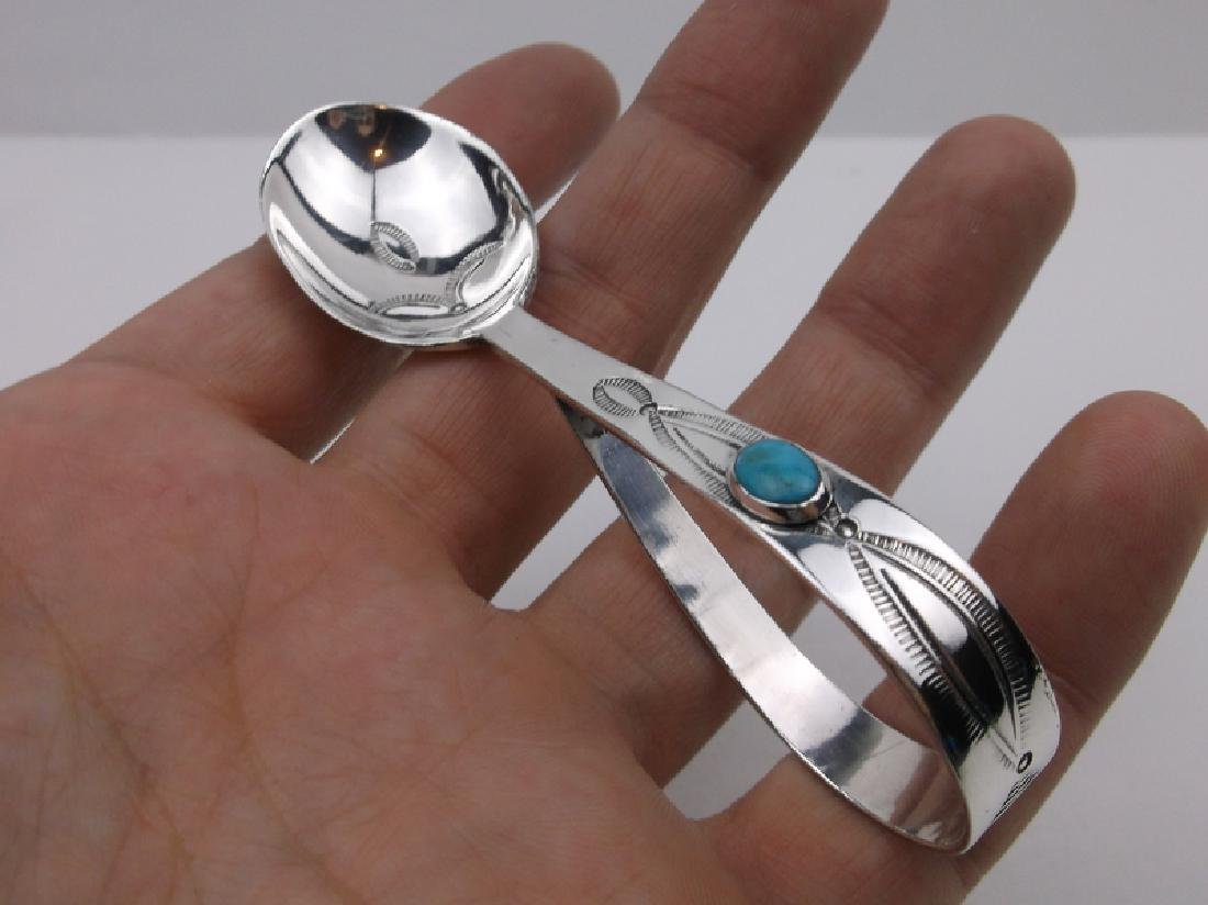 Large Navajo Sterling Turquoise Baby Spoon