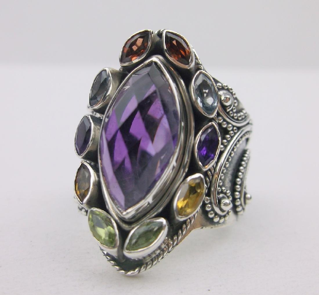 Huge Sterling Silver Amethyst Gem Ring 10 Stunning