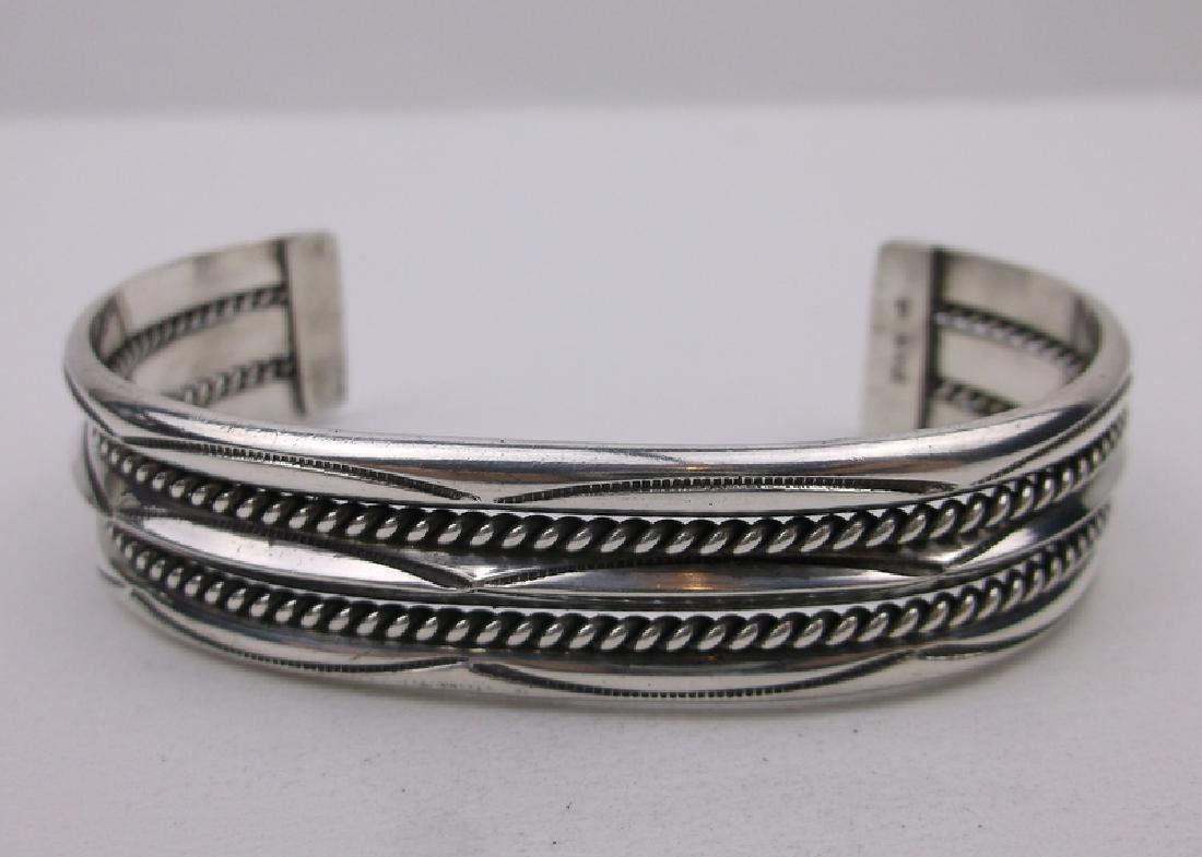 Navajo Thick Sterling Silver Cuff Bracelet Tahe
