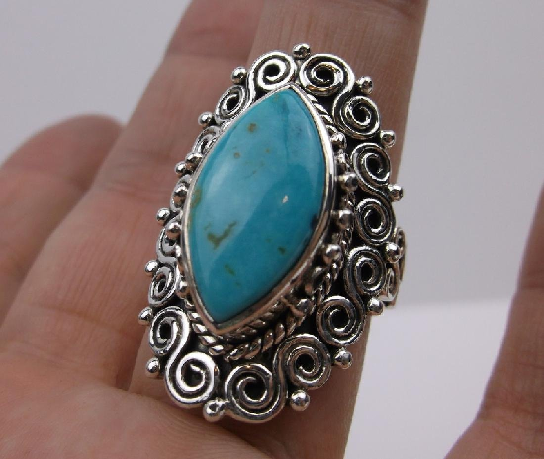 Huge Sterling Silver Turquoise Ring 10.5 Stunning