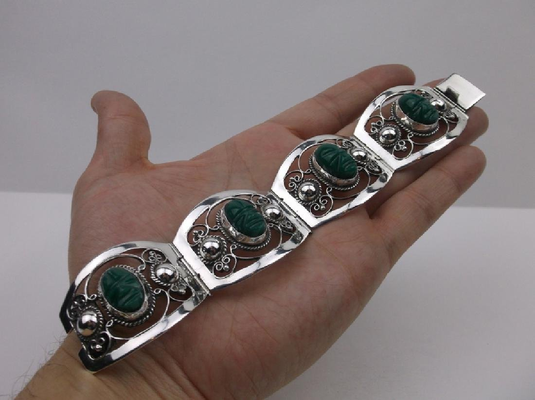 Taxco Turquoise Face Sterling Silver Bracelet 7.5""