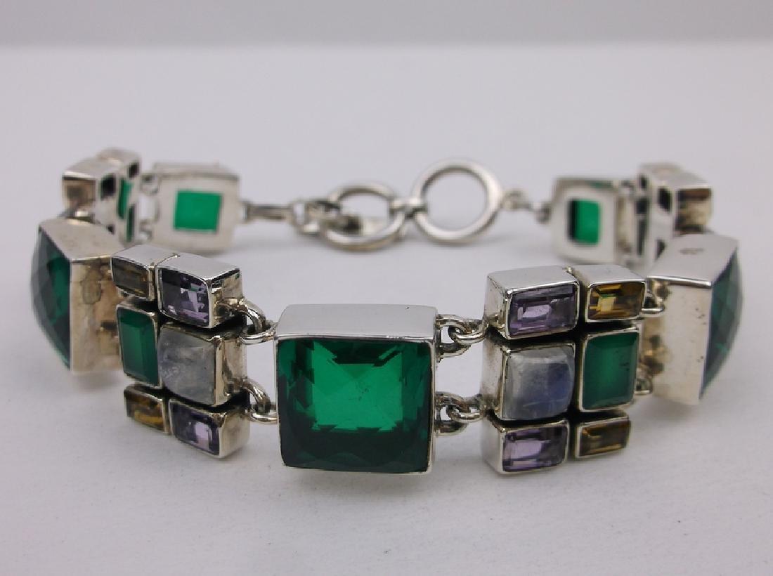 "Nicky Butler Sterling Gemstone Bracelet 8.25"""