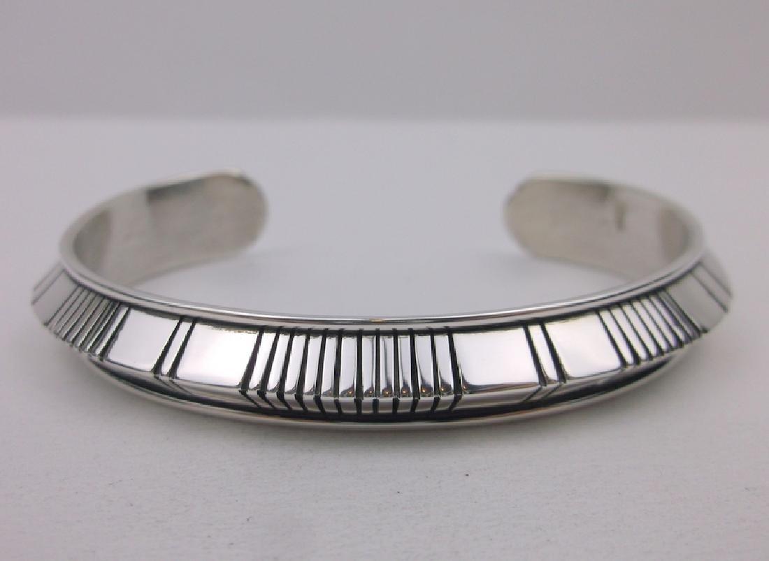 Jonathan Nez Navajo Thick Sterling Cuff Bracelet