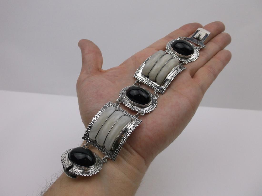 "Huge Taxco Sterling Silver Onyx Crystal Bracelet 8"""