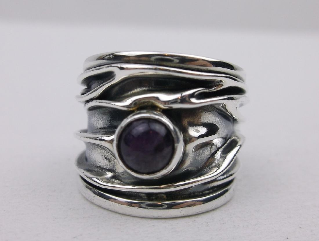 Domingo Mexico Sterling Amethyst Ring 7 Folded