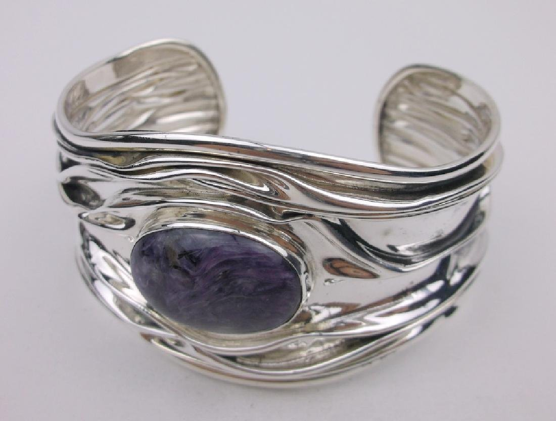 Domingo Mexico Sterling Amethyst Cuff Bracelet HUGE