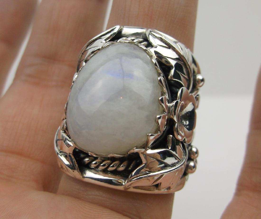 Huge Navajo Sterling Moonstone Ring Mens 11 Signed