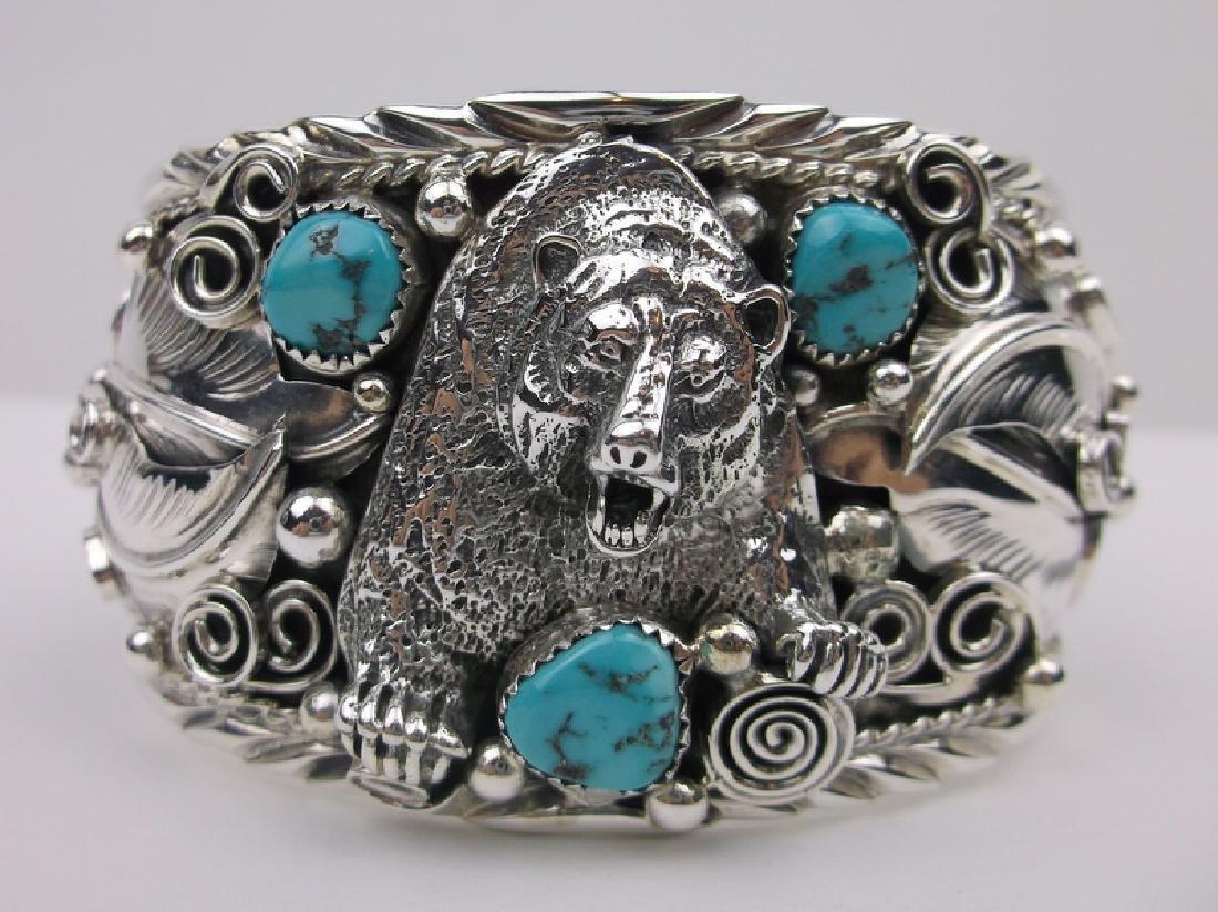 Alvin Chee Navajo Sterling Bear Cuff Bracelet Turquoise