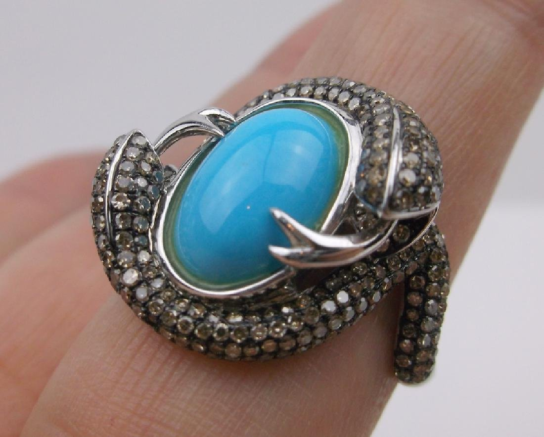Sterling 292 Genuine Diamond Snake Ring 10 Turquoise