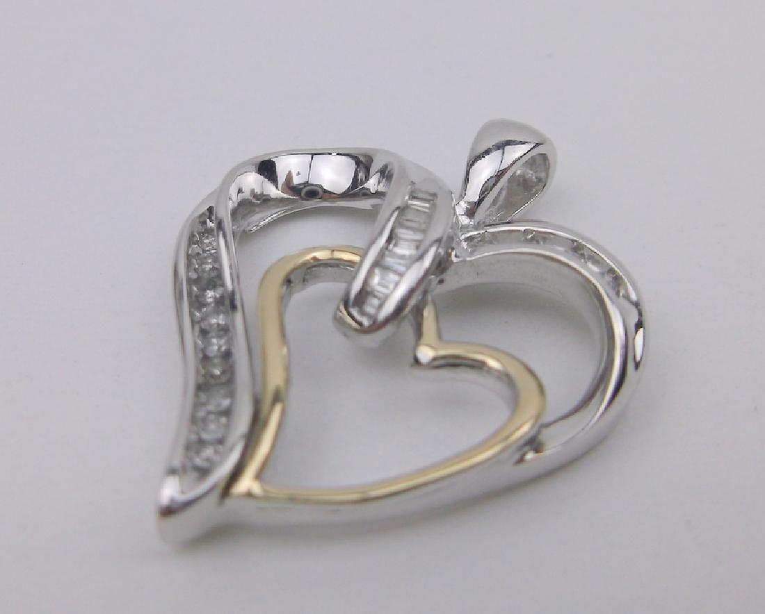 14kt Gold Sterling 20 Diamond Heart Pendant