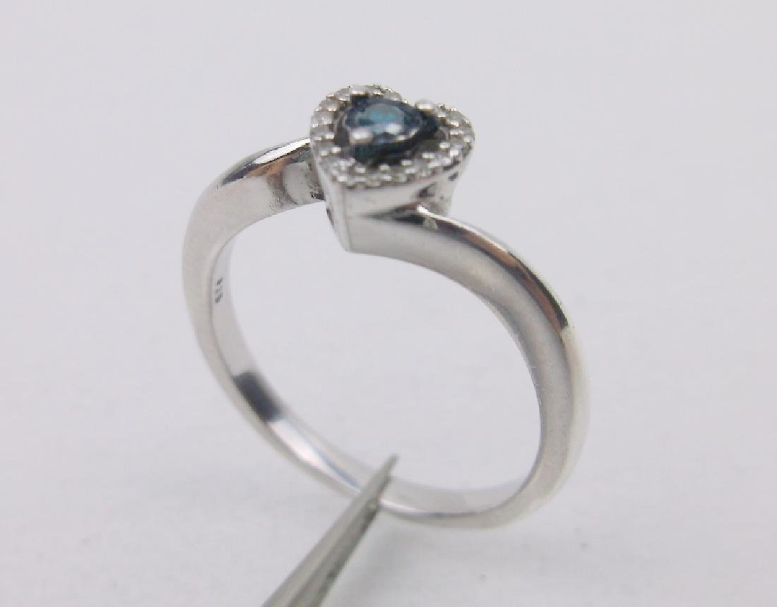 Sterling Blue Diamond Engagement Ring 7
