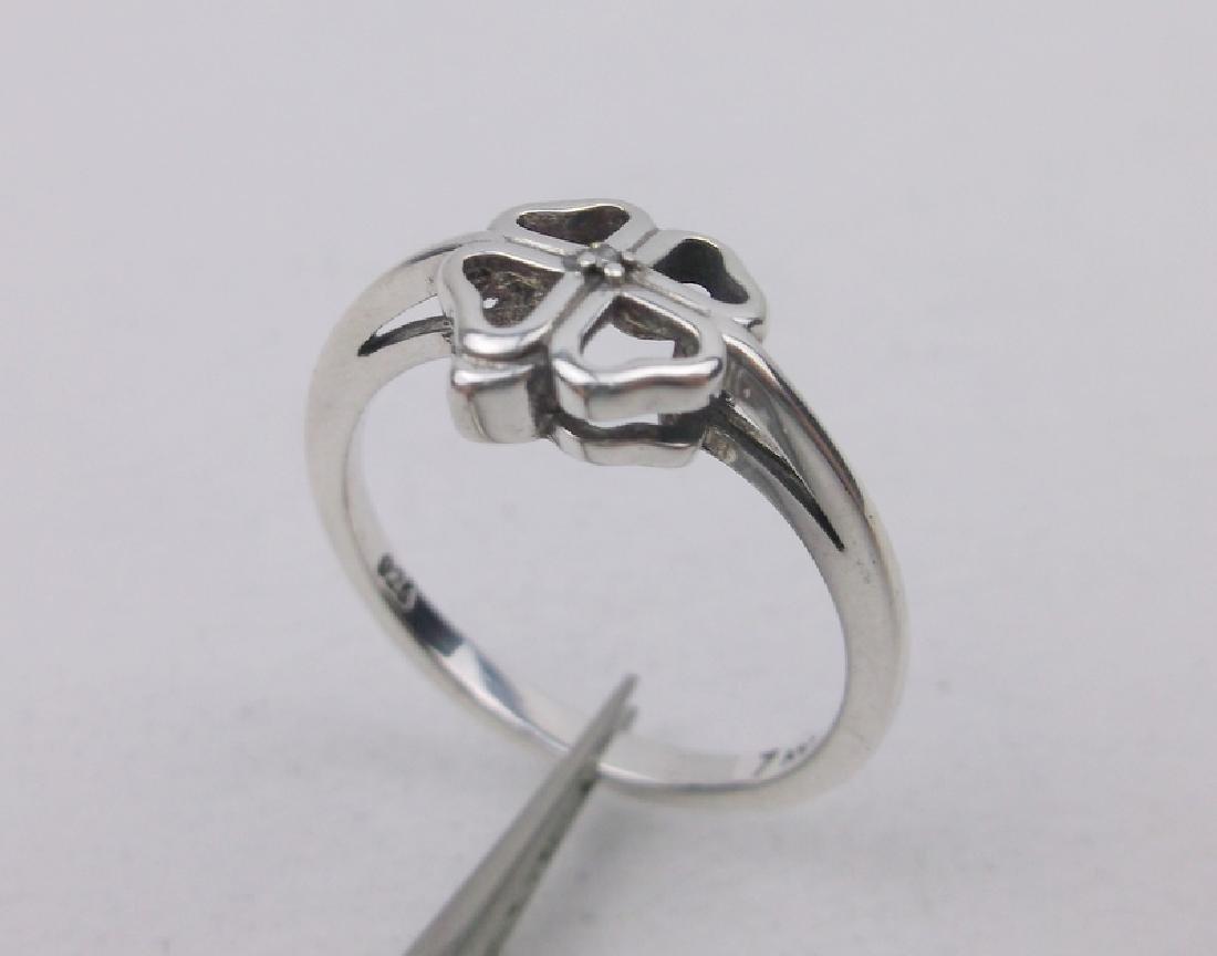 Stunning Sterling Diamond Shamrock Ring 7