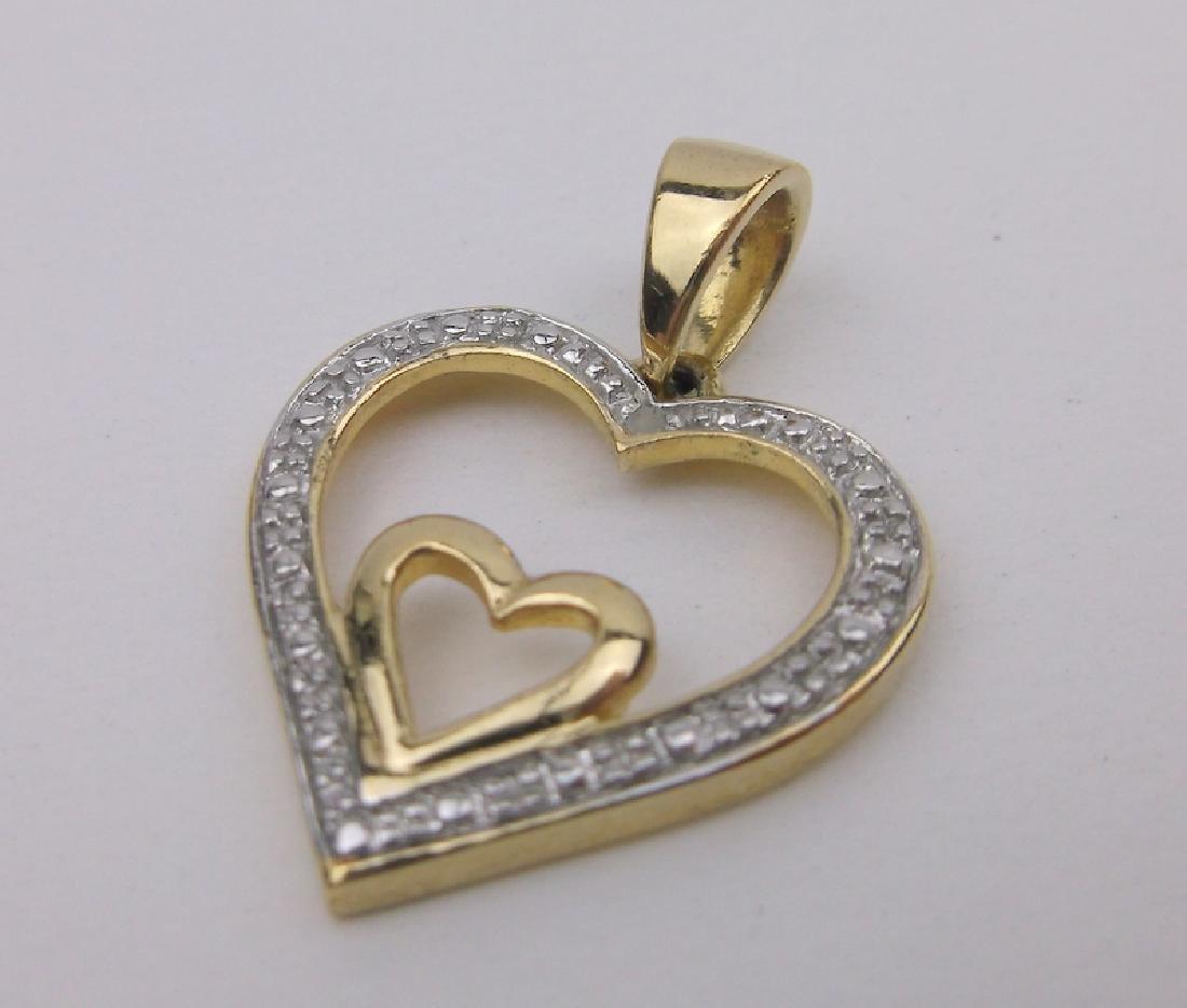 Stunning Gold over Sterling Diamond Pendant