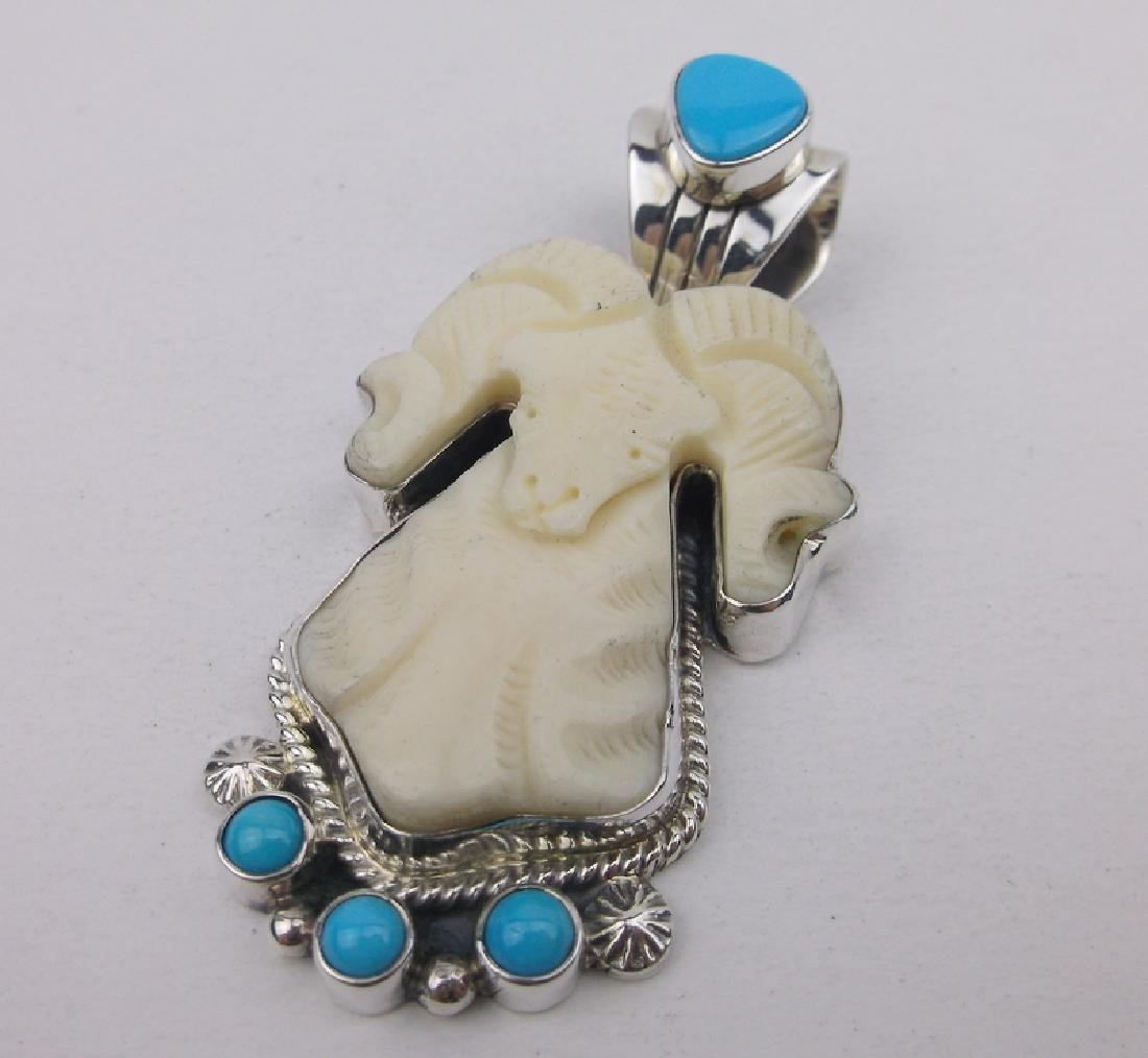 Alvin Chee Navajo Sterling Ram Turquoise Pendant