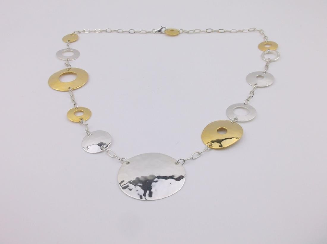 "Robert Lee Morris Sterling Brass Necklace 24"" Stunning"