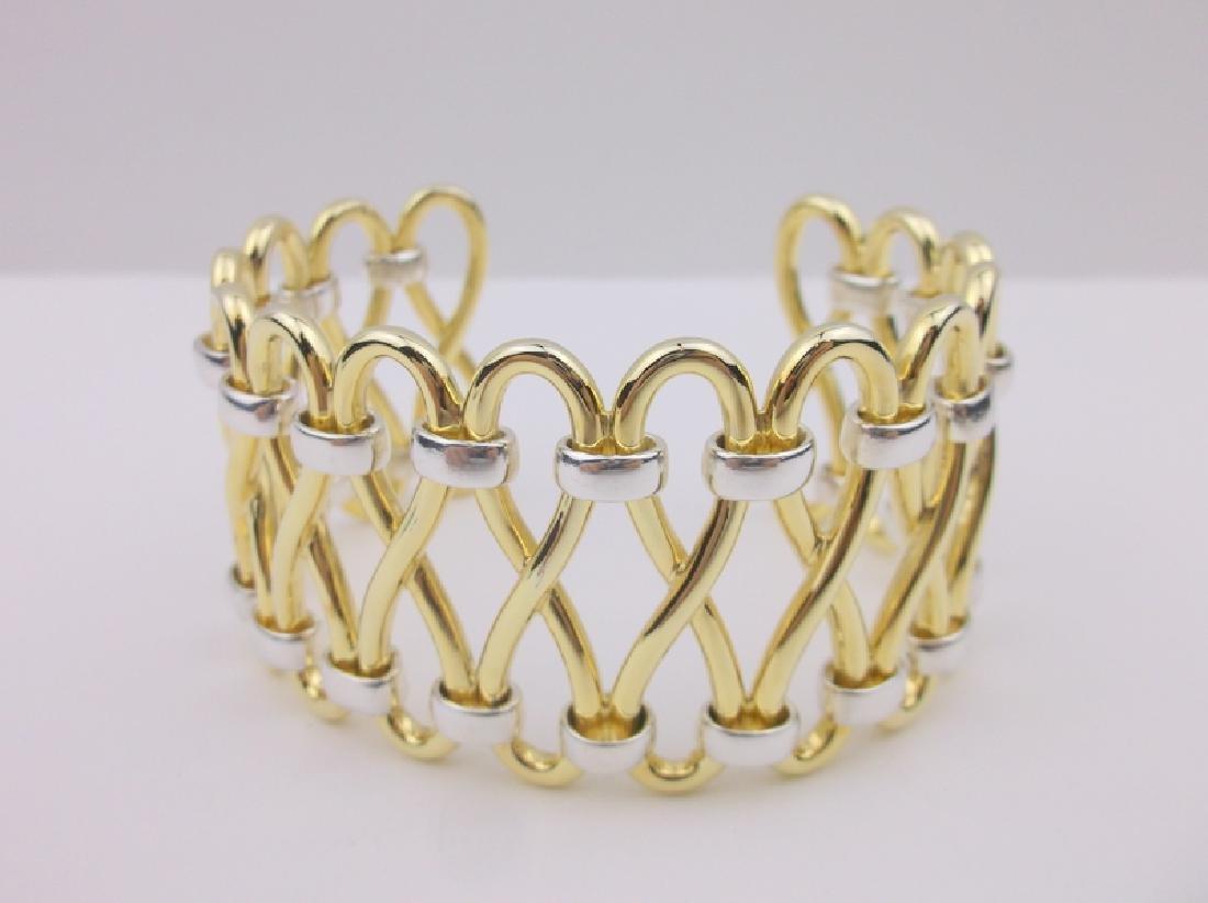 Robert Lee Morris Sterling Brass Cuff Bracelet Huge