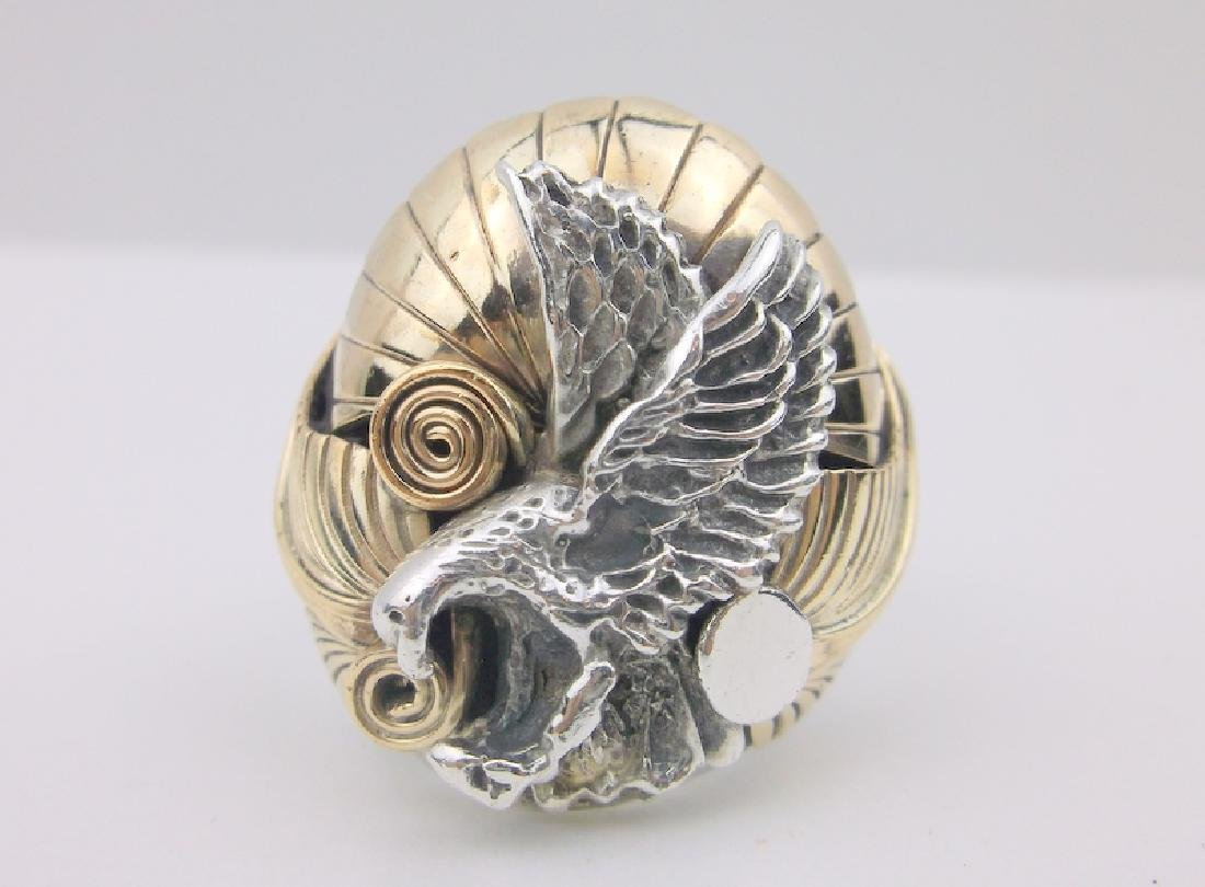Huge Navajo Sterling 12k Eagle Mens Ring 12