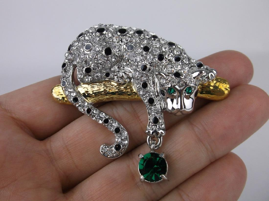 Stunning Designer Jaguar Crystal Brooch