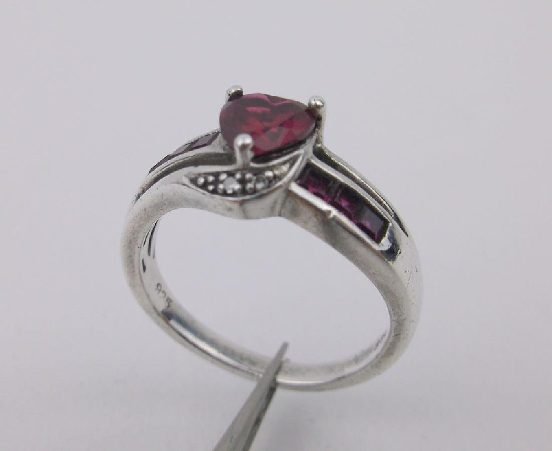 Gorgeous Sterling Diamond Ruby Ring 7