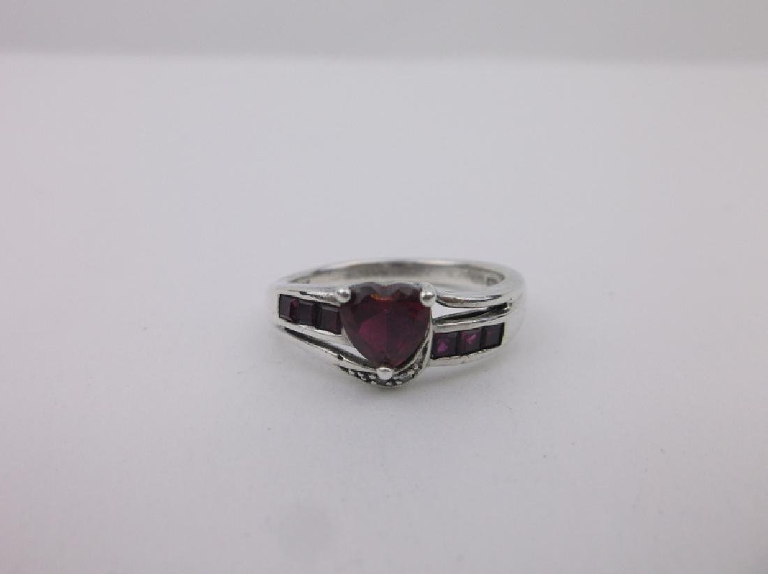 Gorgeous Sterling Diamond Ruby Ring 7 - 2