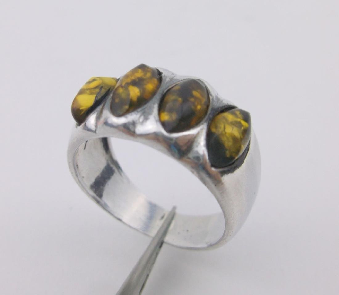 Gorgeous Sterling Silver Amber Ring 6.5