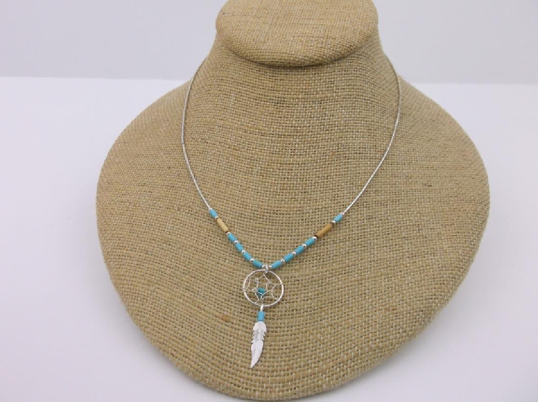 "Stunn Navajo Sterling Dreamcatcher Necklace 16"""