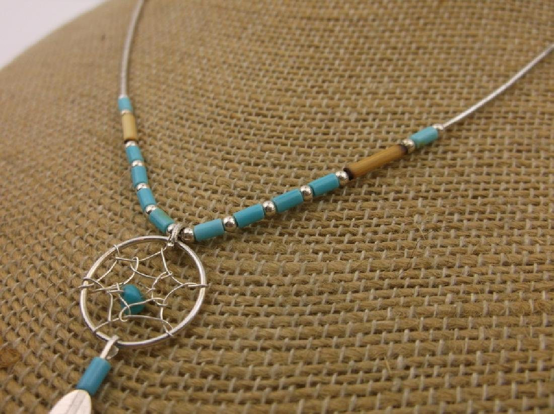 "Stunn Navajo Sterling Dreamcatcher Necklace 16"" - 2"